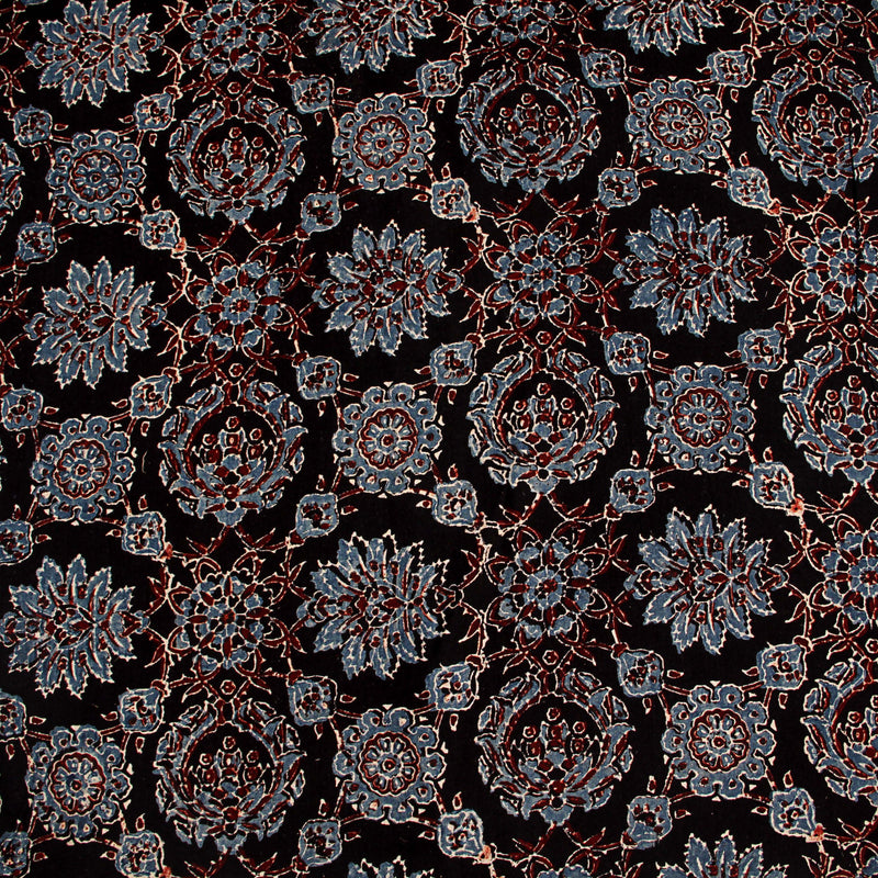 Ajrakh Natural Dyed Cotton Block Print Fabric