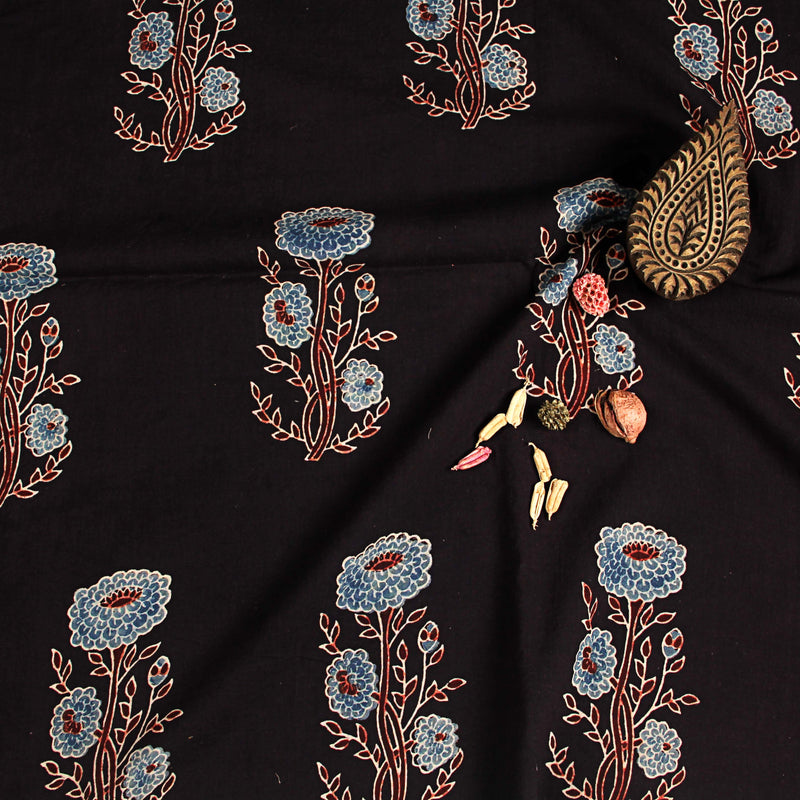 Natural Dyed Black Butta Ajrakh Cotton Fabric