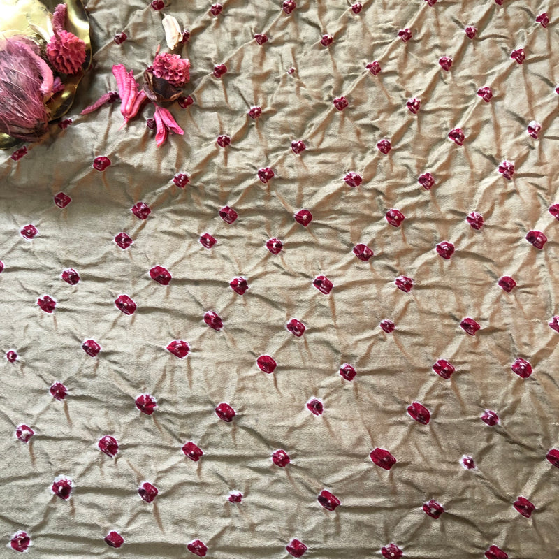 Beige Bandhej Fabric 2.5 meters