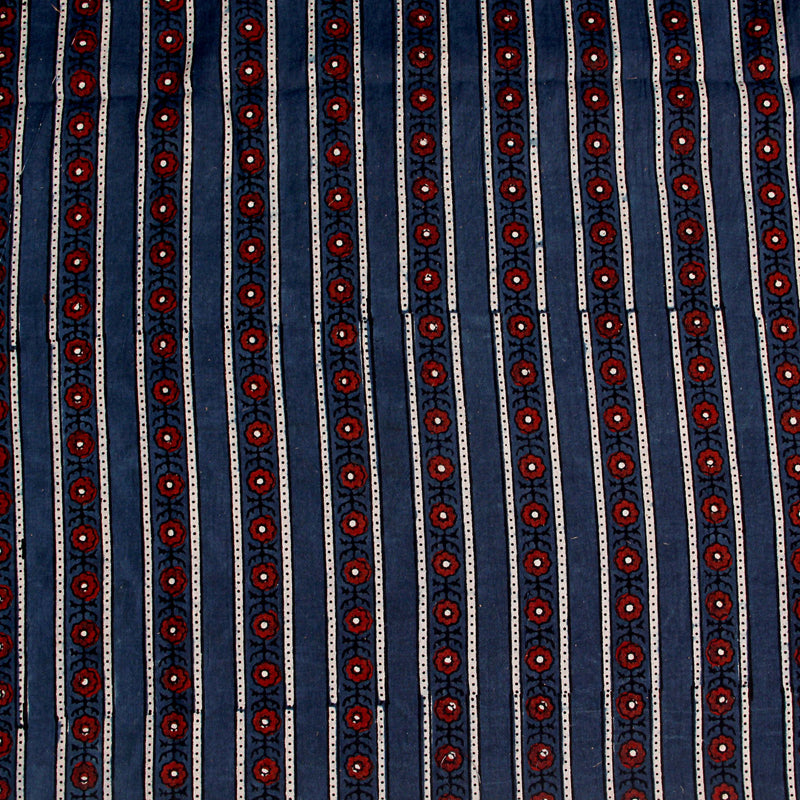 Natural Dyed Indigo with Red Flower Ajrakh Cotton Fabric