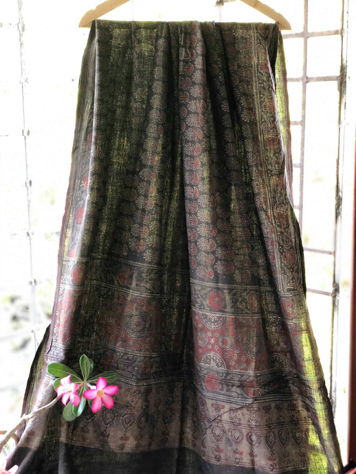 Midnight Handwoven Ajrakh Dupatta | Natural Dyed