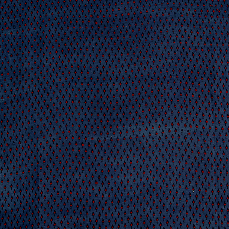 Natural Dyed Indigo with Red Small Leaf Ajrakh Cotton Fabric