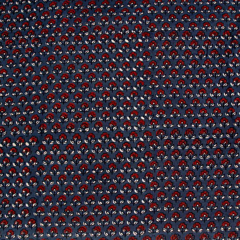 Natural Dyed Indigo with Small Flower Ajrakh Cotton Fabric