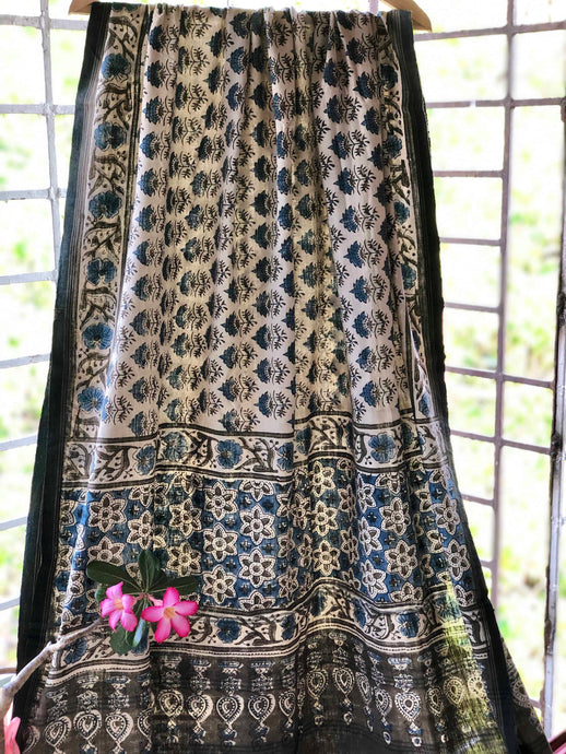 Ivory Handwoven Ajrakh Dupatta | Natural Dyed