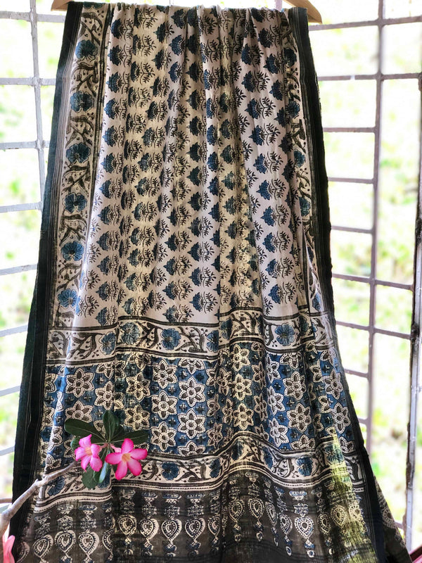 Ivory Cotton Ajrakh Dupatta | Natural Dyed