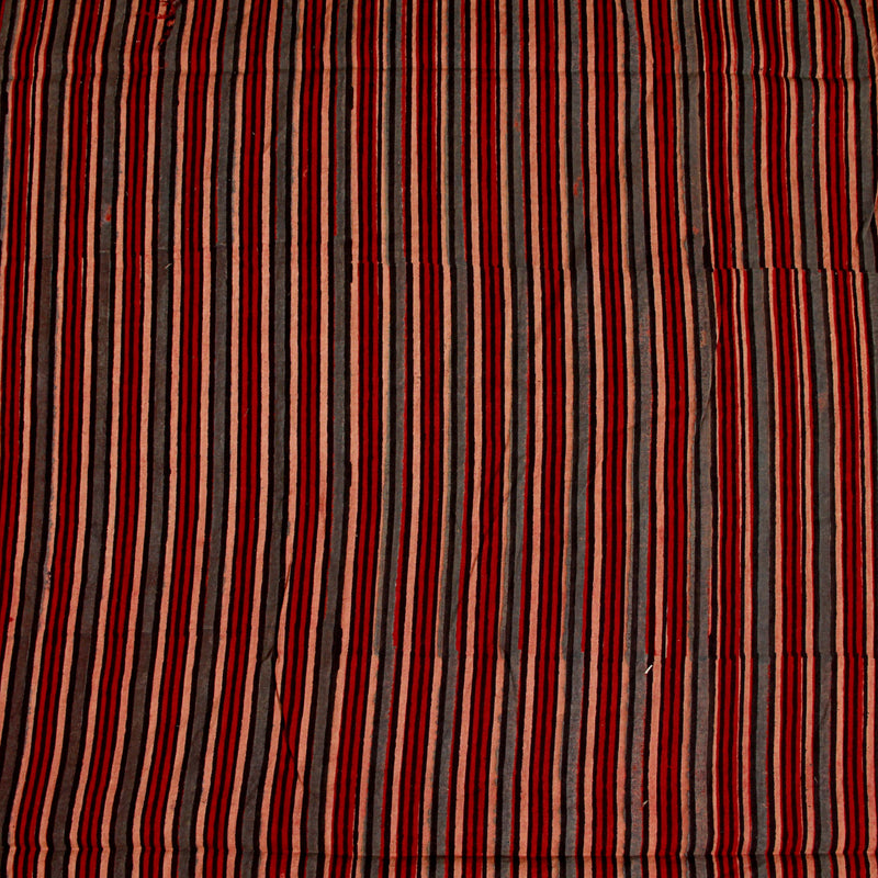 Natural Dyed Red - Grey Ajrakh Cotton Fabric