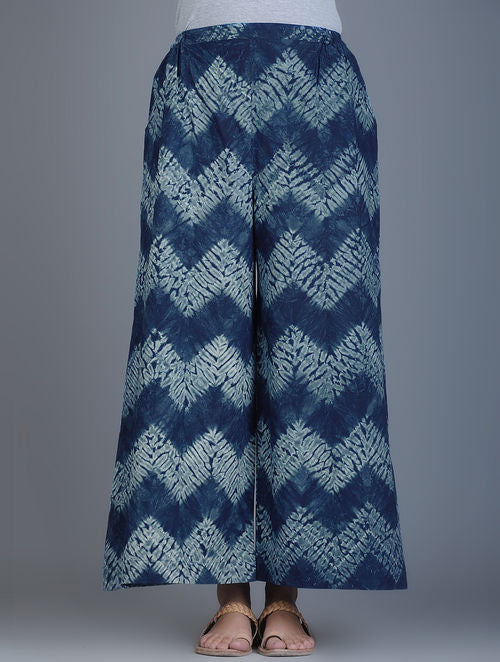 Indigo Ivory Shibori Dyed Elasticated Waist Cotton Palazzos