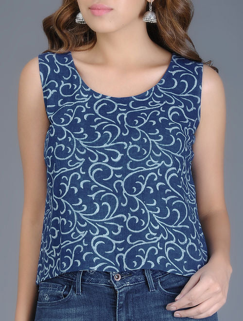 Indigo Ivory Block Printed Handwoven Crop Top