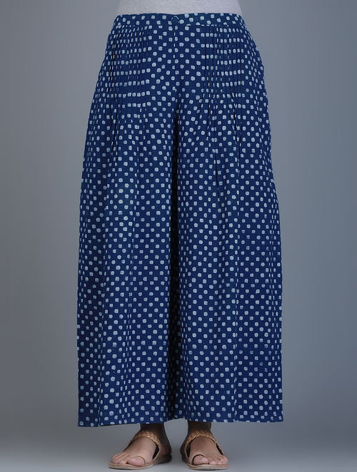 Indigo Ivory Block-Printed Elasticated Waist Handwoven Palazzos with Polka Dots