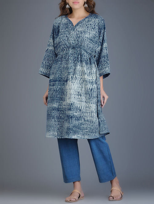 Indigo Ivory Shibori Dyed Front Tie-Up Cotton Kaftan