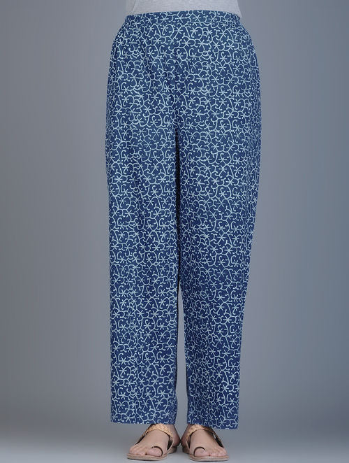 Indigo Ivory Block-Printed Elasticated Waist Handwoven Pants