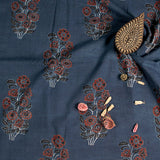 Natural Dyed Indigo Flower Bouquet Ajrakh Cotton Fabric