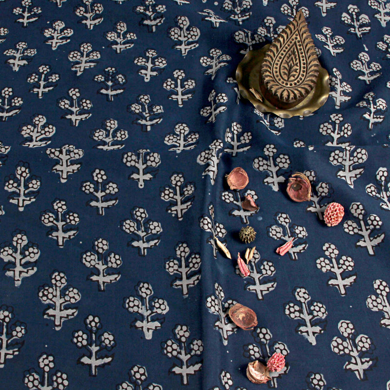 Natural Dyed Indigo Chanderi Silk Fabric
