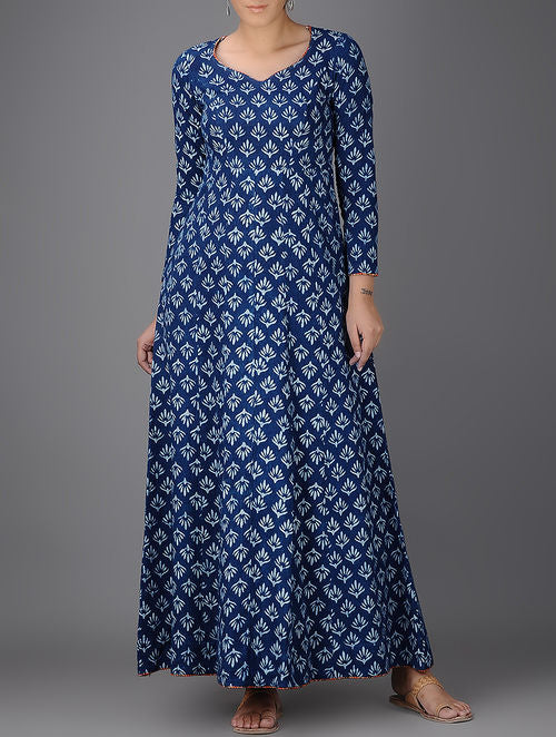 Indigo Ivory Block Printed Khadi Flared Dress
