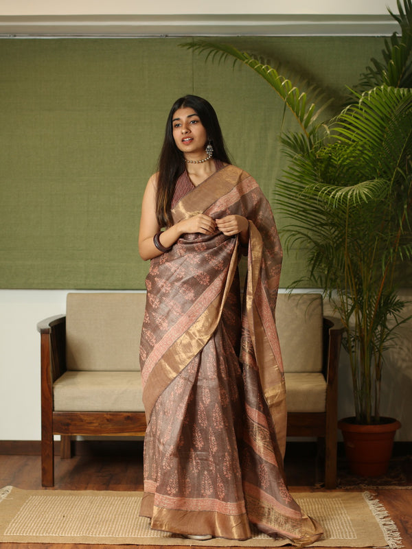 Tussar Silk Bagru Natural Dyed Saree