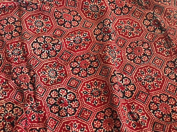 Madder Ajrakh Floral Print On Georgette Fabric