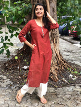 Deep Earthy Brown Organic Ghungroo Kurta