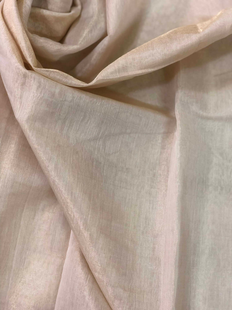 Beige Chanderi Zari Tissue  Fabric