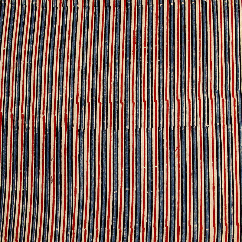 Natural Dyed Red - Blue Ajrakh Cotton Fabric