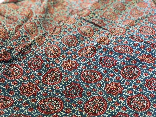 Ajrakh Jaal Butta Print On Georgette Fabric