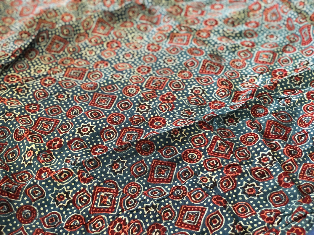 Ajrakh Diamond Print On Georgette Fabric