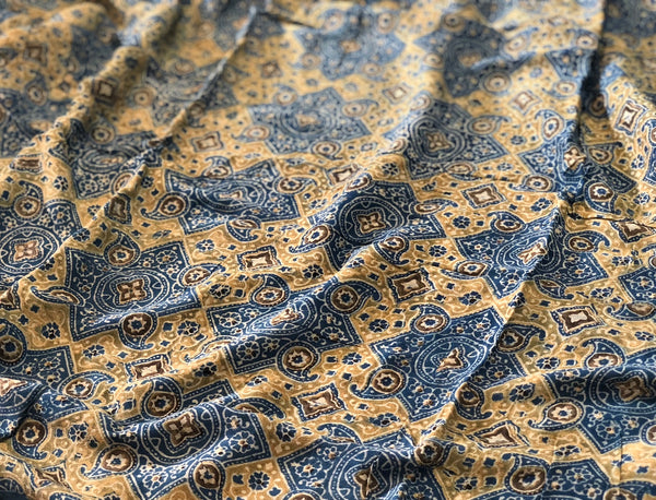 Ajrakh Diamond Butta Print On Georgette Fabric