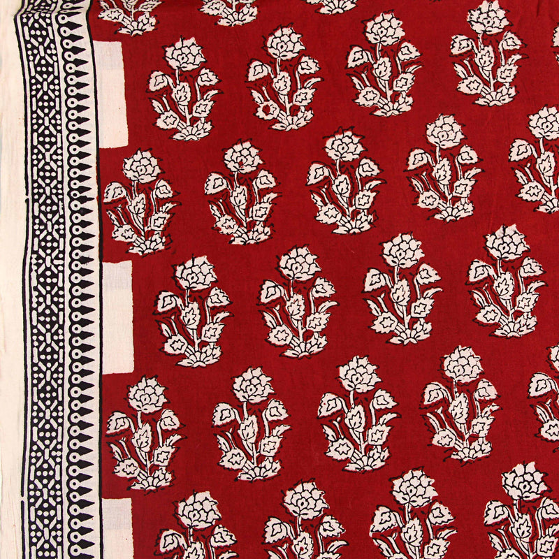 Cherry Red Floral Print Natural Dyed Cotton Fabric
