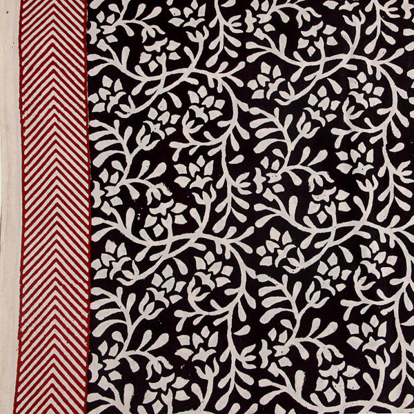 Black And Whte Jaal Print Natural Dyed Cotton Fabric