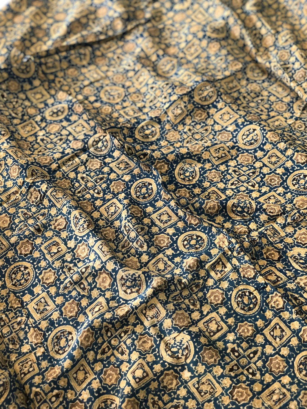 Ajrakh Geometric Print On Georgette Fabric