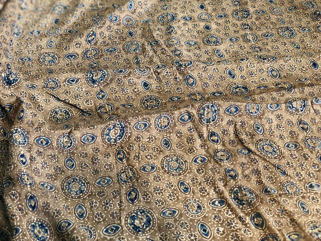 Ajrakh Mughal Print On Georgette Fabric