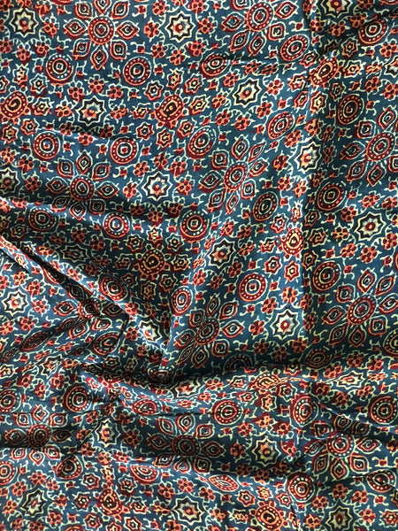 Ajrakh Mughal Jaal Print On Georgette Fabric