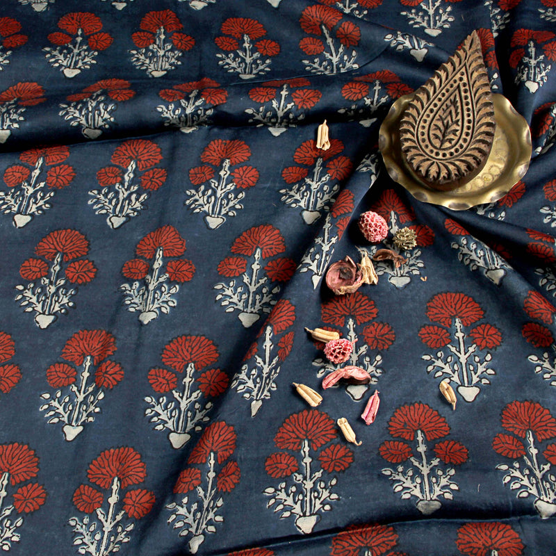Ajrakh Modal Silk Natural Dyed Block Print Fabric