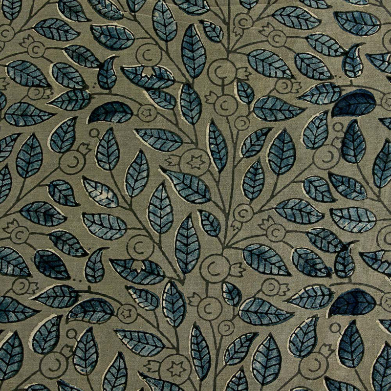 Ajrakh Chanderi Silk Natural Dyed Block Print Fabric