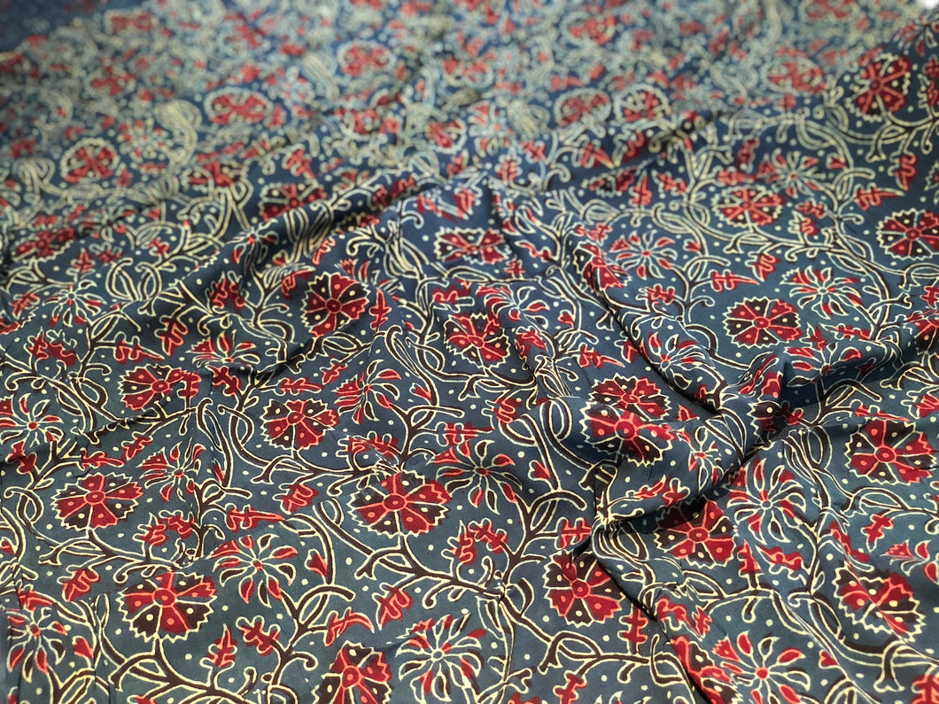 Ajrakh Phool Vel Print On Georgette Fabric