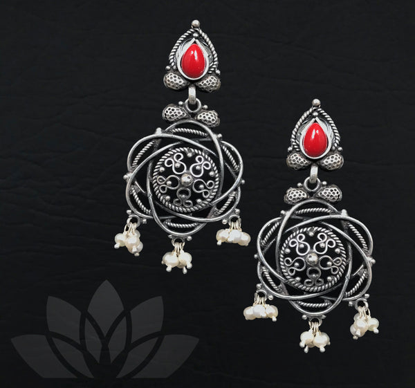Antique Red Bead Earrings