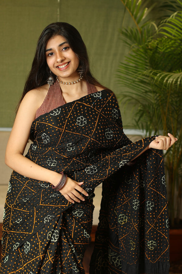 Black Bandhej Saree