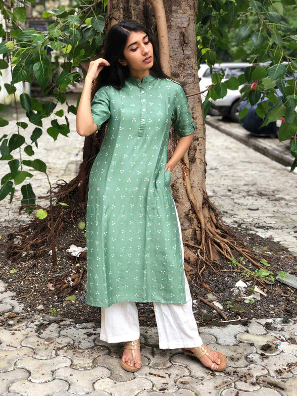 Sea Green Chanderi Silk Bandhej Kurta