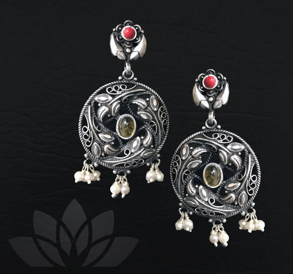 Yellow - Red Antique Earrings