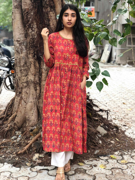 Bright Orange Dahlia Pleated Kurta