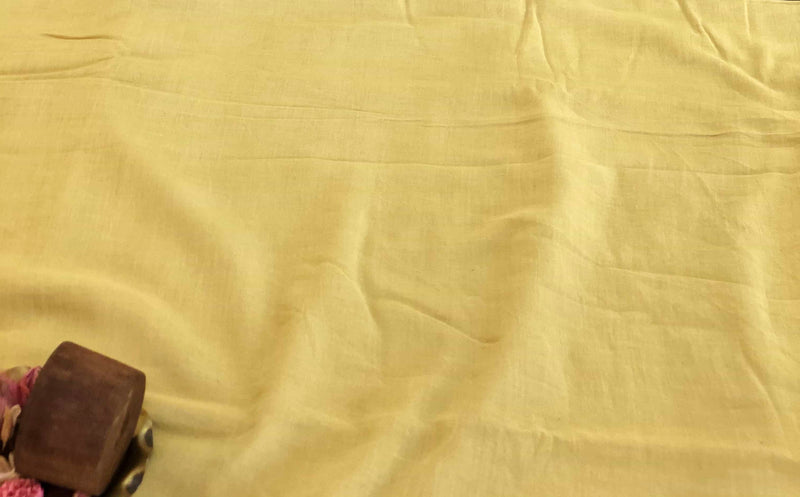 Cream Yellow Mul Cotton Fabric | Natural Dyed