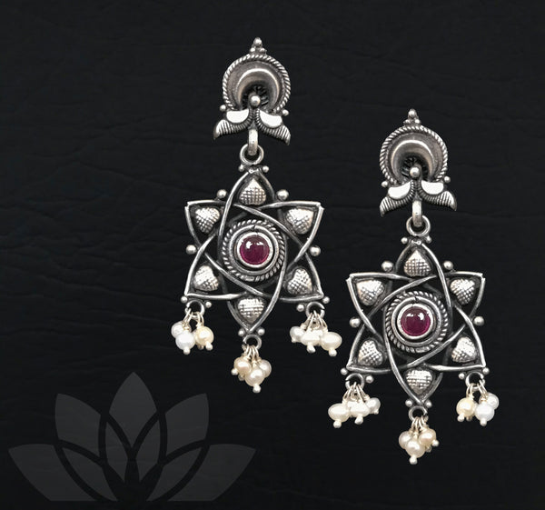 Star Traditional Silver Earrings