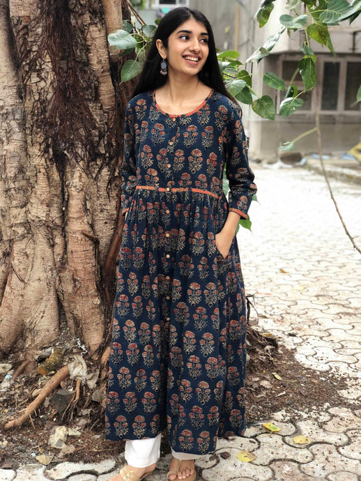Indigo Dahlia Pleated Kurta