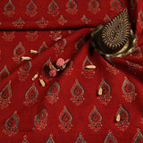 Natural Dyed Red Ajrakh Cotton Block Print Fabric