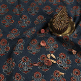 Natural Dyed Indigo Flower Ajrakh Cotton Block Print Fabric