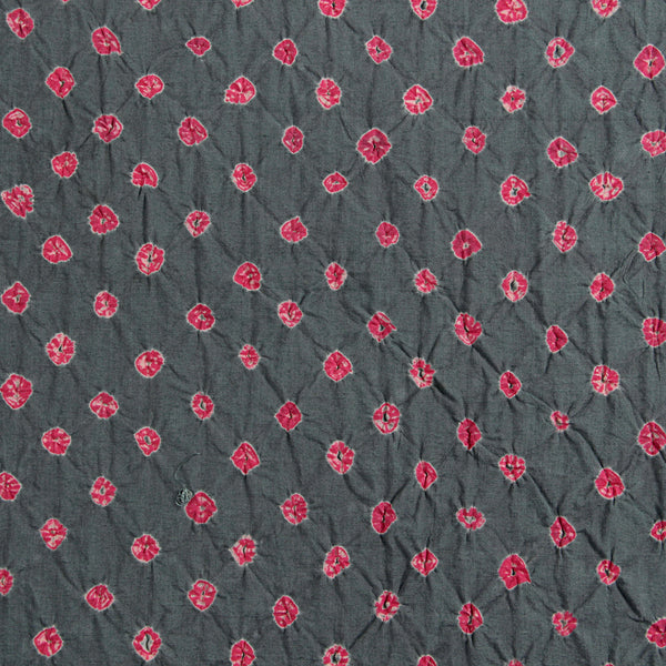 Grey - Pink Bandhej Cotton Fabric (2.5 meters)