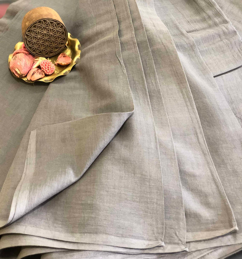 Grey Mul Cotton Fabric | Natural Dyed