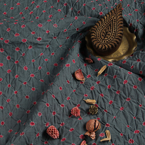 Dark Grey - Pink Bandhej Chanderi Fabric (2.5 meters)