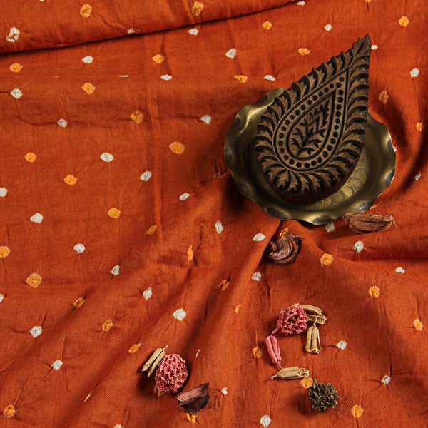 Orange Bandhej Cotton Fabric (2.5 meters)