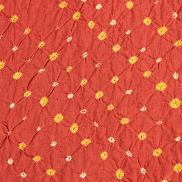 Orange - Yellow Multi Bandhej Cotton Fabric (2.5 meters)