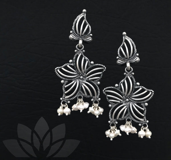 Silver Flower Traditional Earrings